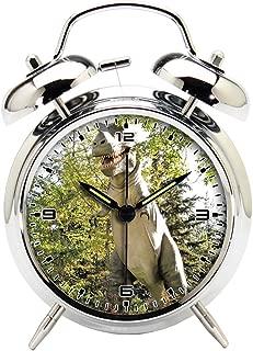 Children's Room Silver Dinosaur Silent Alarm Clock Twin Bell Mute Alarm Clock Quartz Analog Retro Bedside and Desk Clock with Nightlight-077.172_Dinosaur, Canada Zoo, Dinosaur Park, Alberta