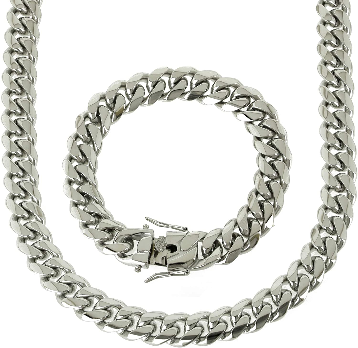 Bling NY Solid Silver Finish 14mm Steel Shipping included Stainless Now free shipping Mi Thick
