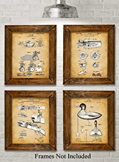 Original Duck Decoys Patent Art Prints - Set of Four Photos (8x10) Unframed - Makes a Great Gift Under $20 for Duck Hunters