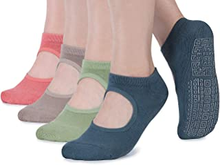 Non Slip Grip Yoga Socks for Women with Cushion for Pilates, Barre, Home