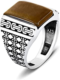 chimoda Mens Silver Ring 925 Sterling Turkish Handmade Jewelry Men's Rings with Oriental Motifs Jewelry for Gentlemen