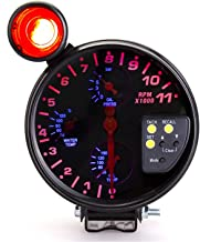 Precise Instrument 5 Inches 12V Universal Car Water Temperature Temp Gauge Oil Temperature Oil Pressure Tachometer 4 in 1 Car Gauge
