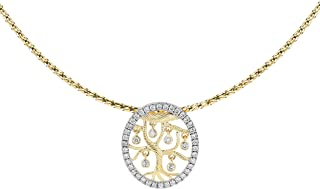 14k Gold Slide Necklace and 1/2 Carat cttw Diamond Charm (H-I Color, I1 Clarity), 16