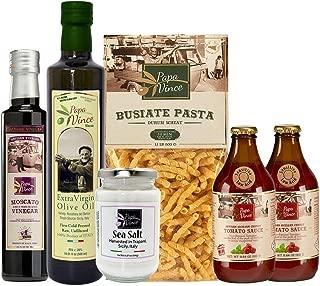 Papa Vince CLEAN EATING FOOD Gift Basket | NON GMO ingredients grown local in Sicily, Italy | VEGAN, MEDITERRANEAN, LOW ACID Diet | Tomato Sauce, Extra Virgin Olive Oil, Balsamic, Pasta, Sea Salt