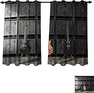 RuppertTextile American Flag Blackout Thermal Curtain Panel Black and Us Bass Guitar Electronic Rock Music Theme Digital Graphic Work Patterned Drape for Glass Door Multicolor W55 x L45 inch