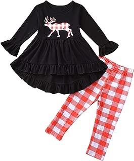 Toddler Girls Hi Lo Christmas Holiday Ruffle Tunic Outfit, Buffalo Plaid Deer Dress Ruffle Bottom Leggings