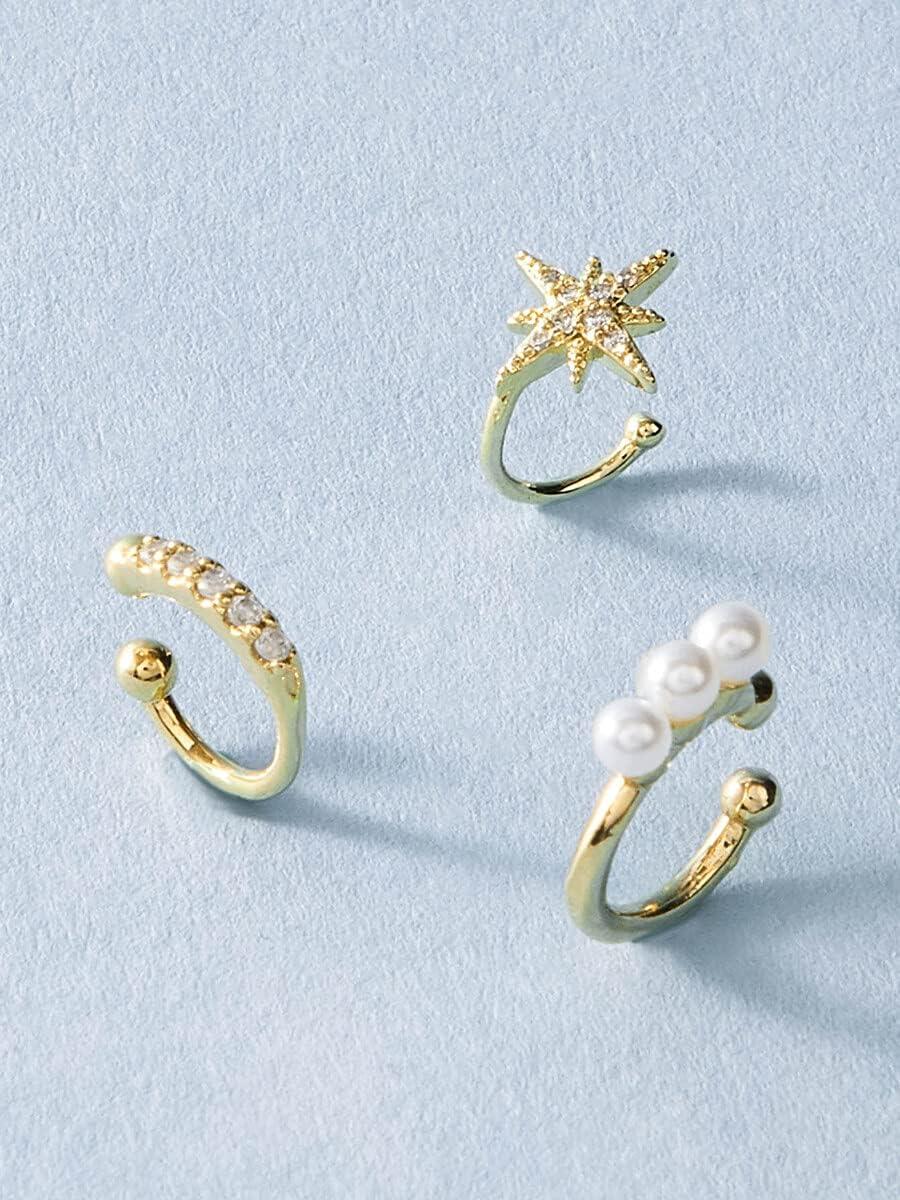 kgjsdf Hoop Earrings 3pcs Rhinestone & Faux Pearl Ear Cuff (Color : Gold)