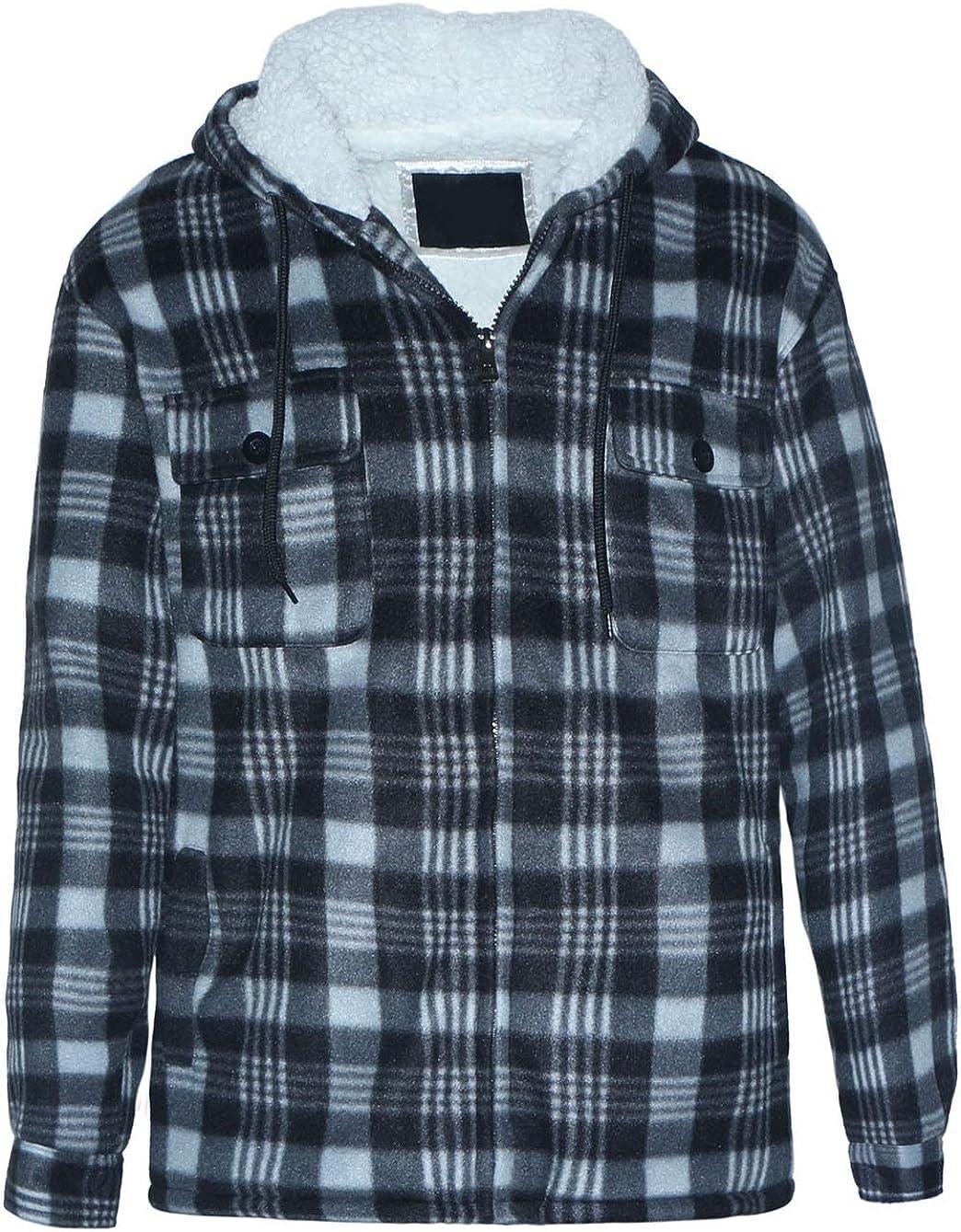 Yasumond Hoodies for Men Zipper Fleece Sweatshirt Heavy Sherpa Lined Hooded Warm Winter Coats Big Tall