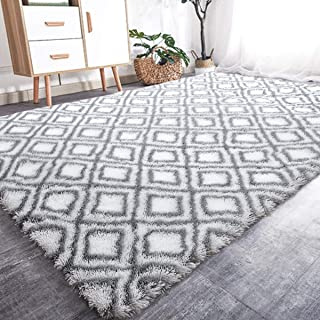 YOH Geometric Area Rug Modern Durable Living Room Indoor Outdoor Soft Carpet 5 x8 Feet (White)