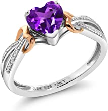 Gem Stone King 925 Sterling Silver and 10K Rose Gold Purple Amethyst and Diamond Women's Heart Shape Ring (0.66 Cttw, Gemstone Birthstone)