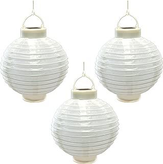 Lumabase 71503 3 Count Solar Powered Nylon Lanterns, 8