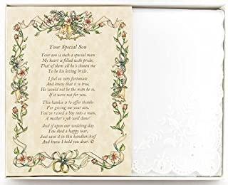 Wedding Handkerchief Poetry Hankie (for Bride's Mother in Law) White, Lace Embroidered Bridal Keepsake, Beautiful Poem | Long-Lasting Memento for The Bride's Mother in Law | Includes Gift Storage Box