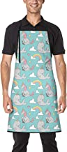 Uedsjsd Narwhal and Unicorn Pattern Unisex Apron Interesting Adjustable Ideal Kitchen Cooking Baking Gardening Sewing Apron with Pocket