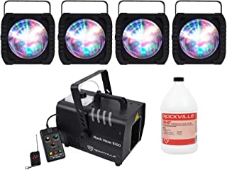 (4) American DJ ADJ REVO 4 IR RGBW LED DMX Moonflower Effect Lights+Hazer+Fluid