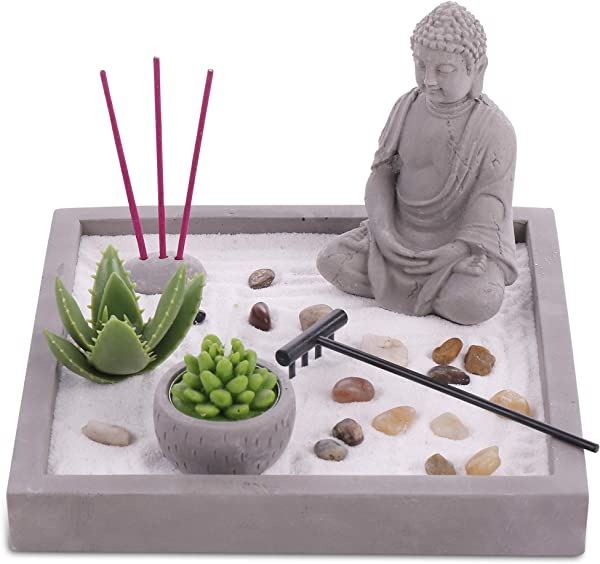 Cement Zen Garden All In One Miniature Rustic Garden Artificial Sculpture Made From Resin And Concrete Mini Set With Rocks Sand Candle And Incense Holder Brilliant Home Or Office Decoration