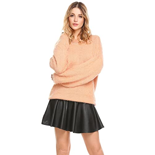 f102a048687 Hufcor Women s Soft Stripe Mohair Jersey Sweater Loose O-Neck Long Sleeve Pullover  Sweater(
