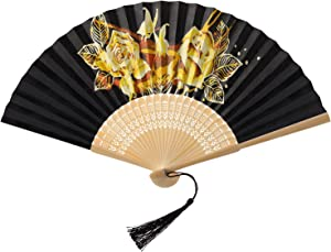 AIRDEA DIY Paper Folding Fan for Women Oil Painting Handheld Folding Fans Chinese Japanese Bamboo Fan Kit for Home Wall Décor Party Favors (Without Base) Rose Flowers Butterfly