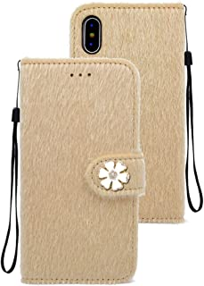 Mobile Case Flowers Diamond Encrusted Horizontal Flip Plush Protective Back Cover with Holder & Card Slots & Wallet & Lanyard For iPhone X (Color : Beige)