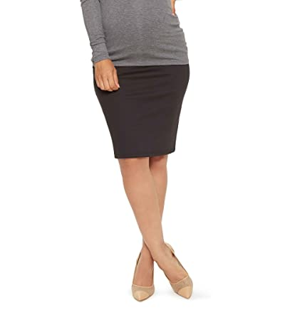Stowaway Collection Maternity Maternity Straight Skirt (Black) Women