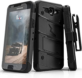 Samsung Galaxy J3 Emerge Case, Zizo [Bolt Series] w/ [Galaxy J3 Emerge Screen Protector] Kickstand [12 ft. Drop Tested] Galaxy J3 Prime / Amp Prime 2, Black/Black