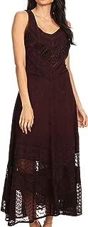 Zendaya Stonewashed Rayon Embroidered Floral Vine Sleeveless V-Neck Dress