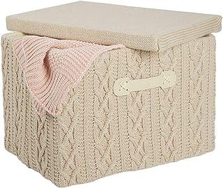 mDesign bac de rangement avec couvercle et poignée – panier de rangement de taille moyenne en polyester style tricoté – bo...