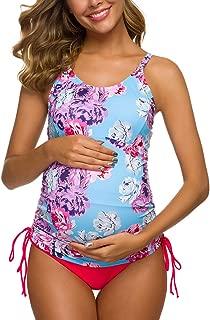 Tempotrek Two Piece Maternity Swimsuits Stripe Halter Swimwear Floral Pregnancy Plus Size Bathing Suits