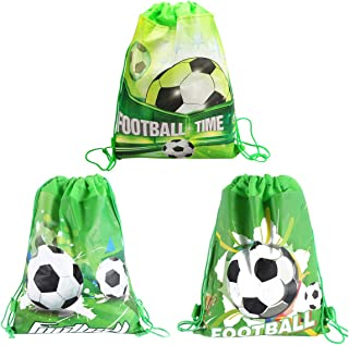 CIEOVO 12 Pack Soccer Party Favor Goodie Bags, Treat Gift Drawstring Bag Football Backpack Birthday Party Decoration Supplies for Baby Shower Birthday Party Supplies