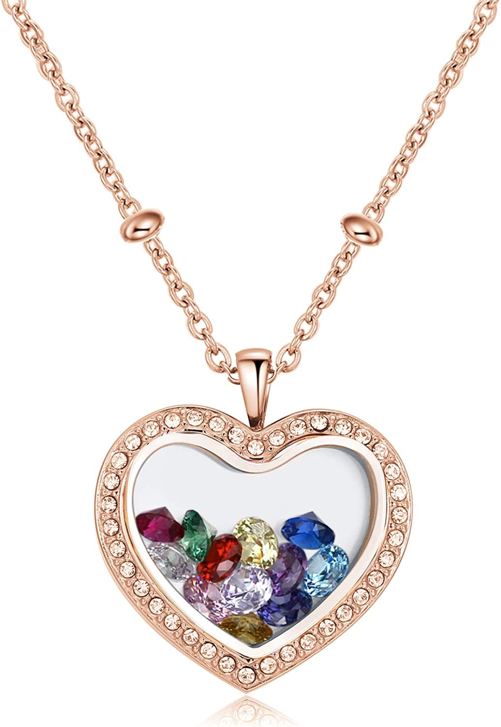 CF100 Birthstone Locket Necklaces, 12 AAAAA+ Cubic Zirconia Birthstones 316L Stainless Steel Floating Charms Locket Necklaces with Chains in Gift Box