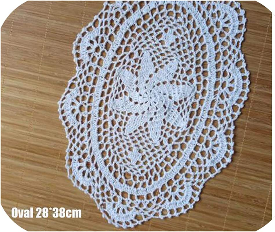 11 15 Lace Cotton Table Place Mat Cloth Crochet Placemat Tea Coffee Drink Pad Christmas Dining Coaster Cup Mug Doily Kitchen White Oval 11 15