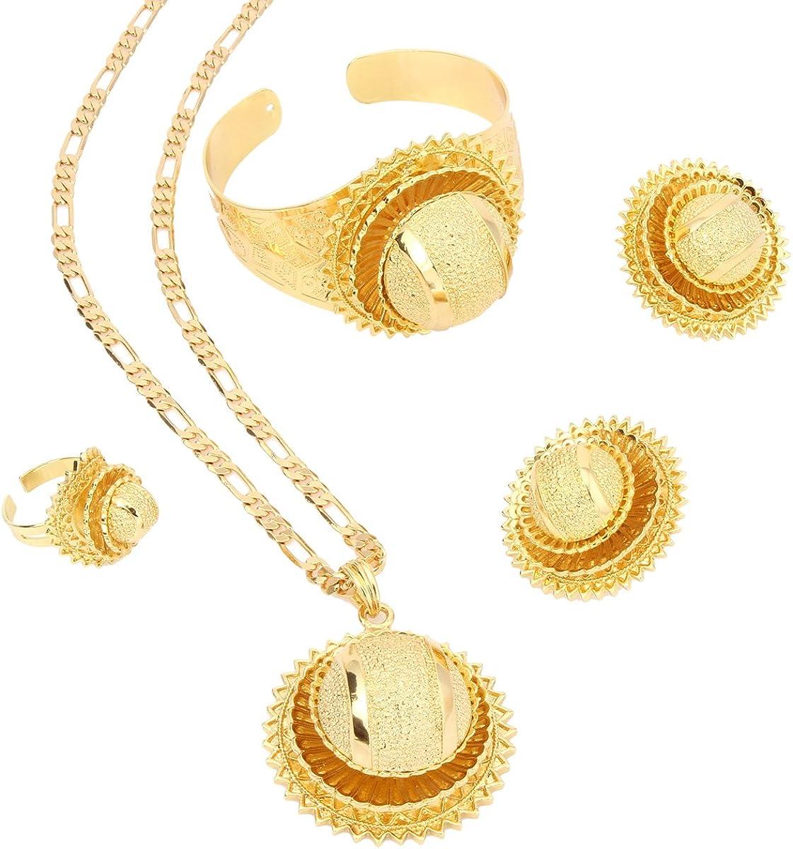 New Ethiopian 24K Gold Set Jewelry Pendant Chain Clip Earring Ring Bangle Set