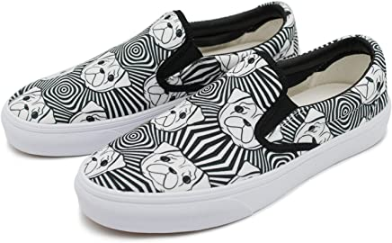 d02551d4a71 cozyshoeson Men Love Cute Bulldog Hug me Canvas Slip-On Shoes Sneaker White