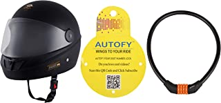 Autofy O2 Max DLX Full Face Helmet With Scratch Resistant Visor (Matte Black,M) and Autofy 4 Digits Universal Multi Purpose Steel Cable (Black and Orange) Combo