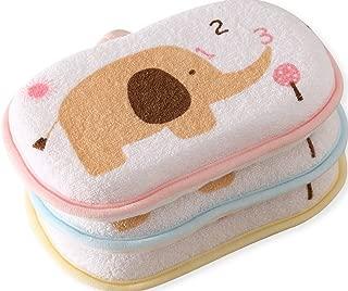 Pack of 3 Newborn Natural Breathe Freely Soft Baby Bath Sponge Cartoon Great Soft Cotton Brush/Rubbing Towel Ball Baby Bath Foam Rub Shower Sponge,Random Color
