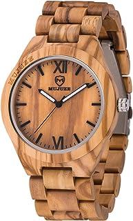 Wooden Watch,MUJUZE Simple Unique Design Lightweight Analog Quartz Men Wood Watch(Olive Wood)