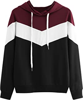 MAKEMECHIC Women's Color Block Long Sleeve Casual Pullover Hooded Sweatshirts