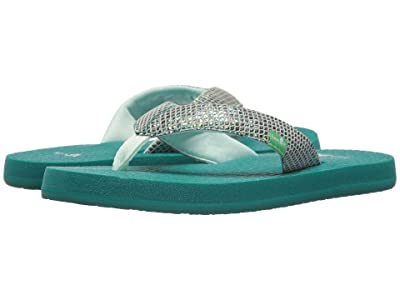 Sanuk Kids Yoga Glitter (Little Kid/Big Kid) (Sea Green) Girls Shoes