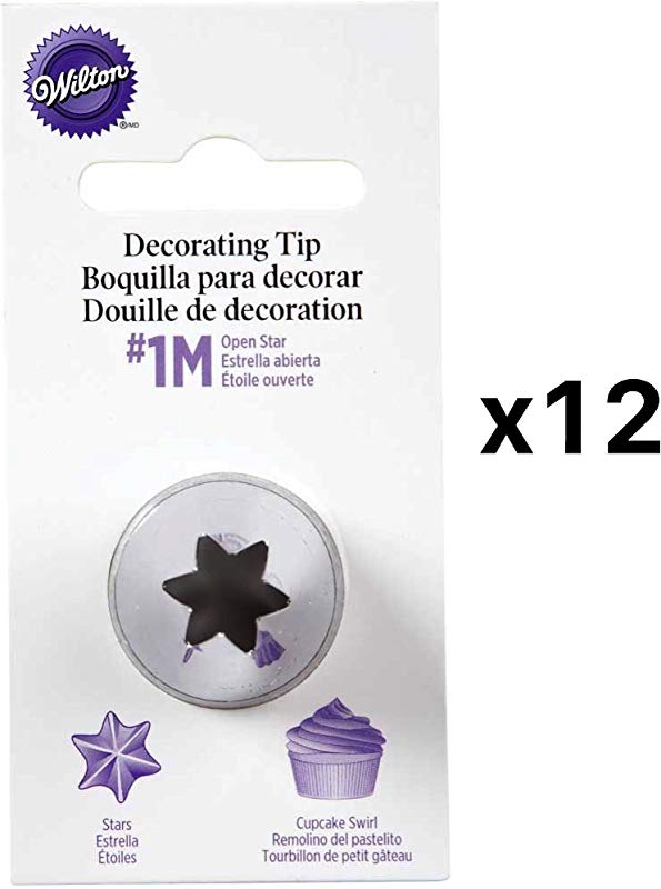 Wilton Open Star Tip 1M Icing Decorating Nickel Plated Brass L Coupler 12 Pack