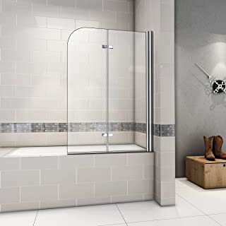 Mamparas de Bañera Plegable Biombo de Baño Abatible, 6 MM Cristal Templado Antical 120x140cm