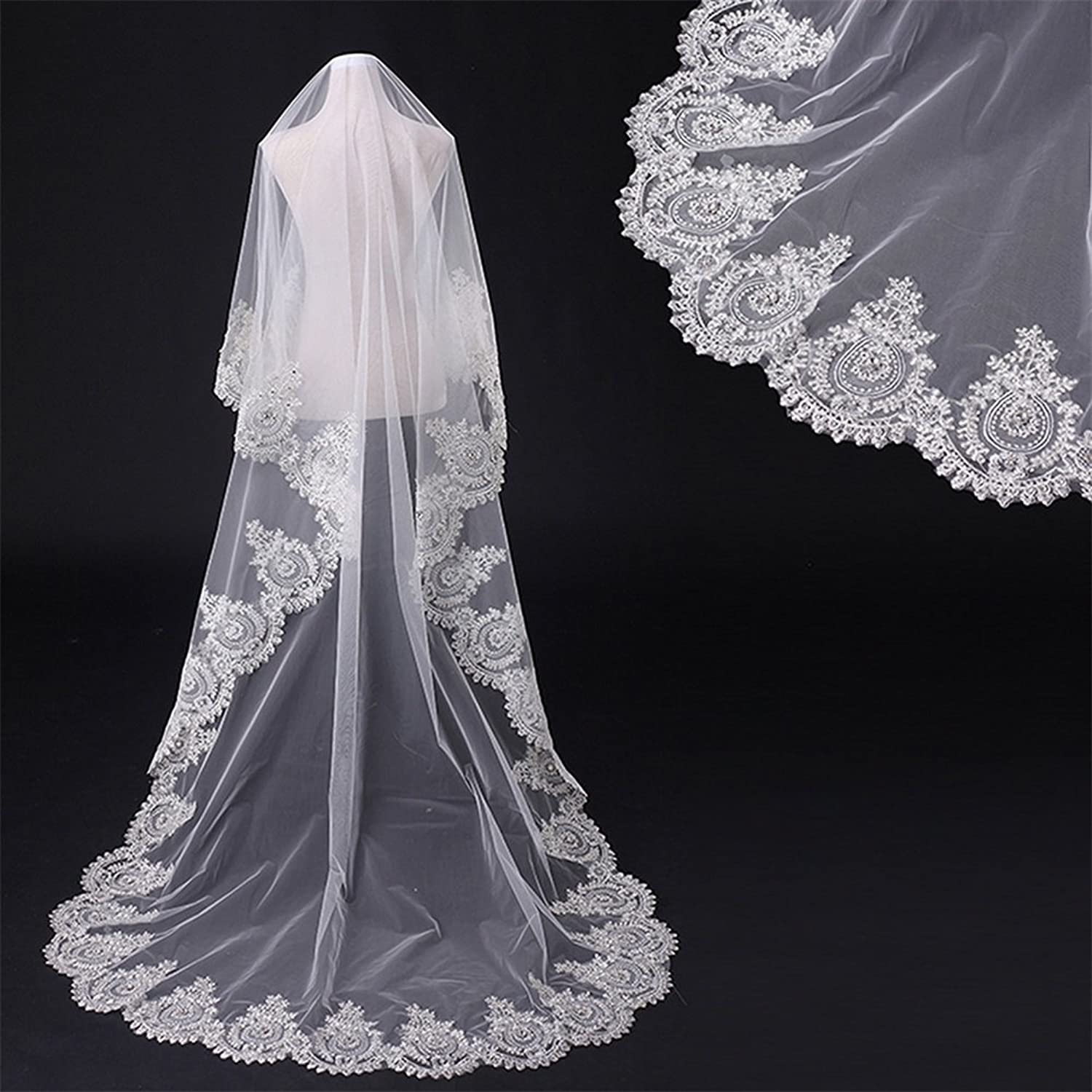 Bridal Veil Wedding Veils with Shinning Beads Sequins Lace Edge Cathedral Bride Veils Wedding Accessories Ivory