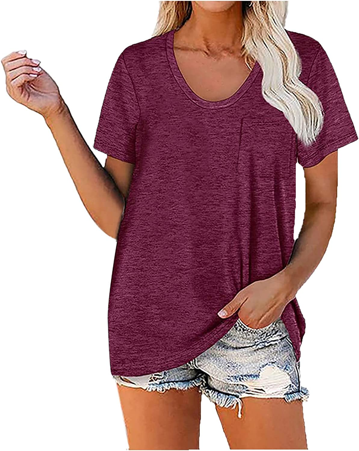 Womens overseas T Shirts Solid color Sleeve Max 84% OFF v-neck Short Te short-sleeved