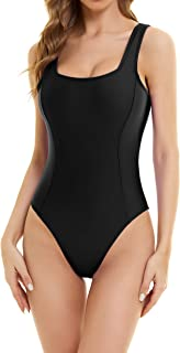 Annbon Women's Vintage One Piece Swimsuit Tummy Control U-Neck Backless Bathing Suits with Removeable Padded