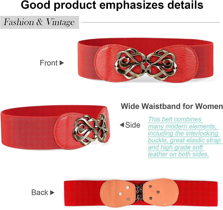 JasGood 4 Stück Damen Schmal Leder Gürtel PU, Extra Dünn Hüftgürtel, Gürtel Mehrfarbig Optional Stilvoll Taillengürtel für Jeans Kleid Dornschließe D-rot
