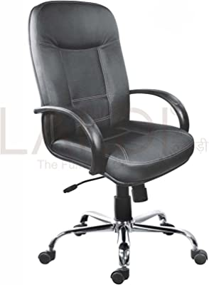 Lakdi-The Furniture Co. Black Fully Cushioned Leatherite Executive Chair Comes with Armrest and Lumbar Support Ideal for - Offices, Institutions & Homes
