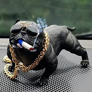 WEIFLY Car Decoration Dog Ornaments Resin Bully Doll Auto Interior Accessories Cute Vivid Model in The Creative CarPersonality High Grade Crafts,Black