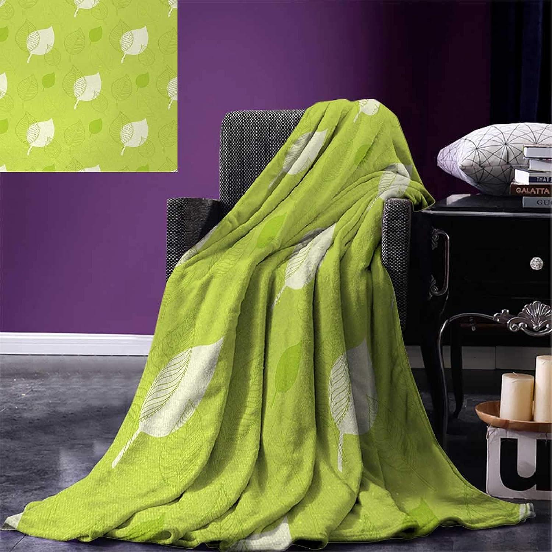 Anniutwo Leaf Travel Throw Blanket Transparent Retro Autumn Leaves Classical Old Fashioned Artful Design Artwork Velvet Plush Throw Blanket 60 x50  Green Cream