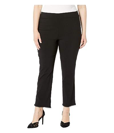 HUE Plus Size Crochet Hem Loafer Skimmer Leggings (Black) Women