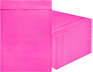 Amiff Pink Poly Bubble mailers 10.5 x 15 Padded envelopes 10 1/2 x 15. Pack of 10 Poly Cushion envelopes. Exterior Size 11.5 x 16 (11 1/2 x 16). Peel and Seal. Mailing, Shipping, Packing, Packaging.