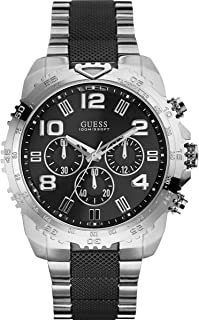 Guess Men's Sports Chronograph Black Dial Stainless Steel Band Watch - U0598G3