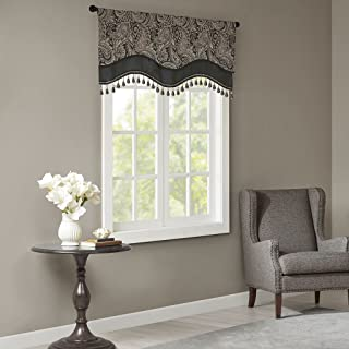 Madison Park Aubrey Window Valance Cotton Jacquard Rod Pocket Swag for Living Room Kitchen or Bathroom, 50x18, Black